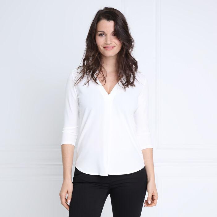 T-shirt manches 3/4 col V ecru femme