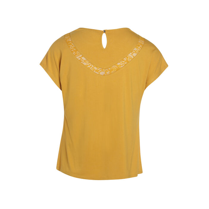 Tee-shirt manches courtes jaune moutarde femme