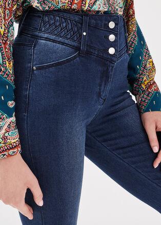 Jeans ajuste taille haute denim stone femme