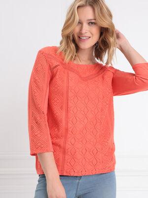 T shirt manches 34 dentelle orange corail femme