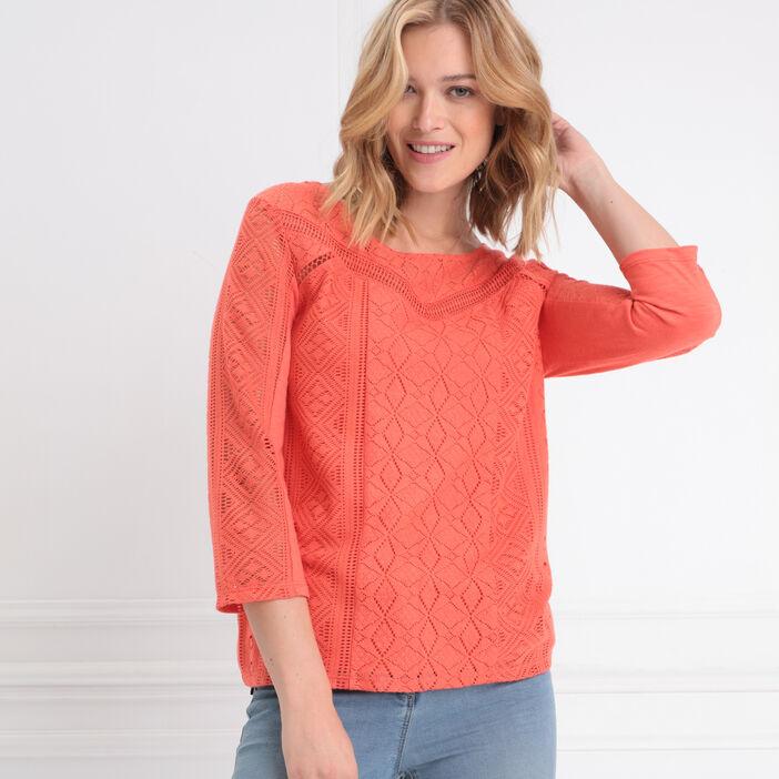 T-shirt manches 3/4 dentelle orange corail femme