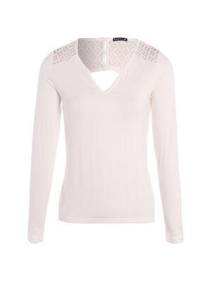 T shirt avec dentelle en haut du dos ecru femme