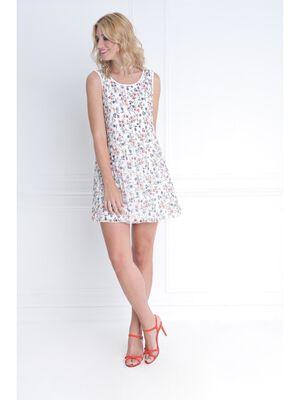 Robe plisse imprime blanc femme