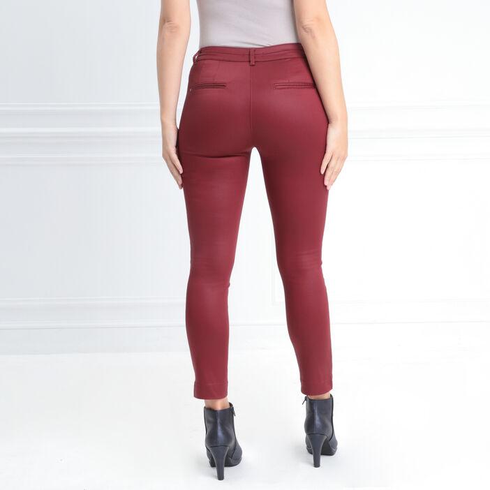 Pantalon ajusté enduit rouge foncé femme