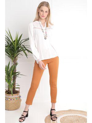 Pantalon taille basculee camel femme