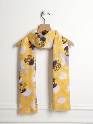 b04207281fe Foulard imprime pois et fleurs jaune moutarde femme