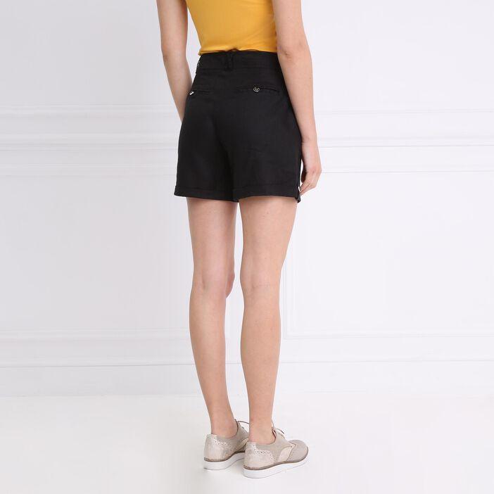 Short droit taille standard noir femme