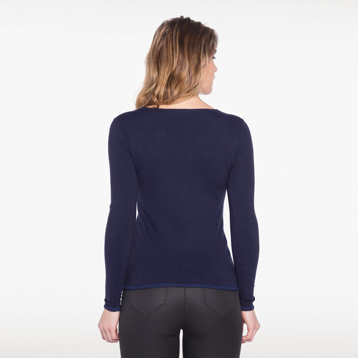 Pull col en V zippé orné de strass bleu femme