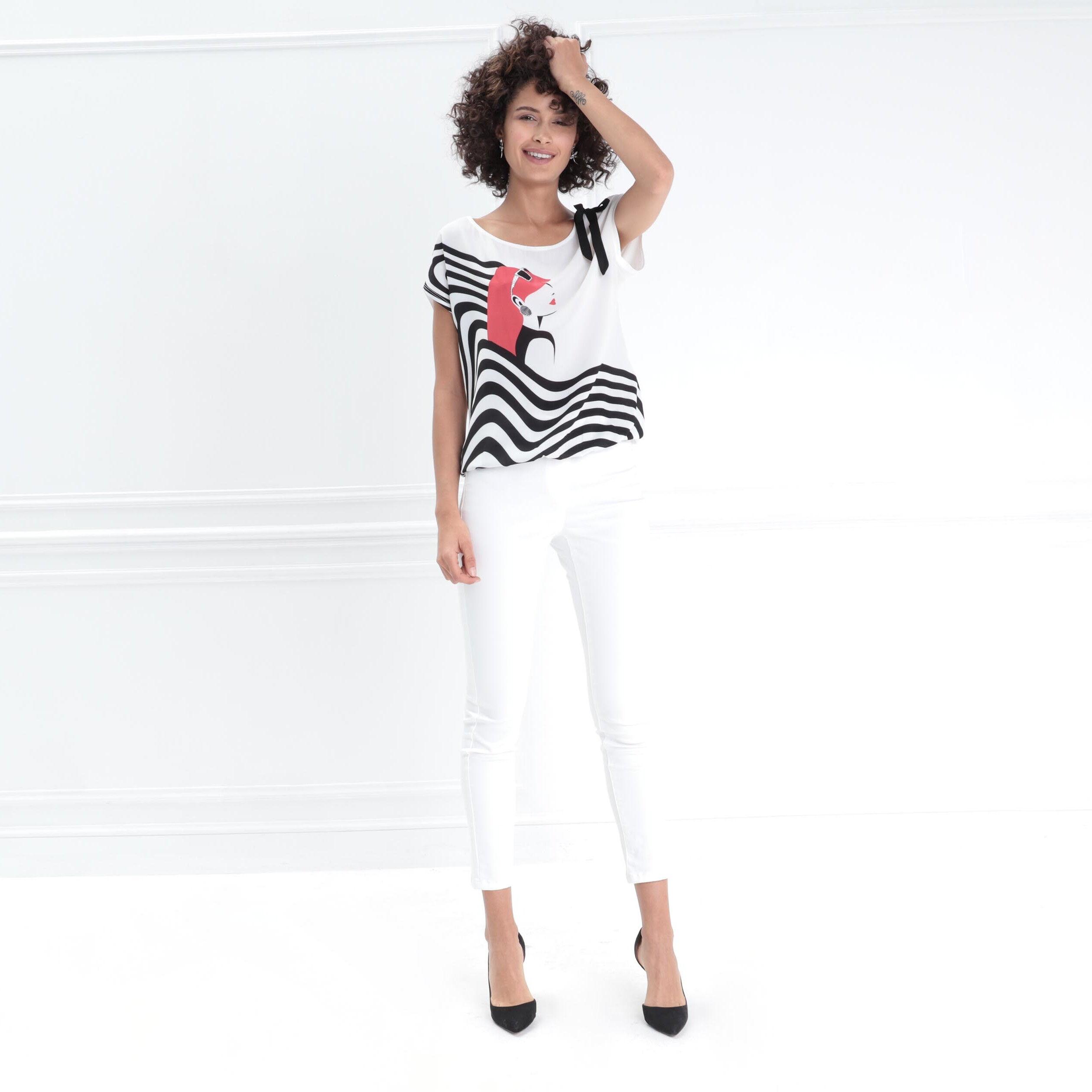 Nœud FemmeBréal Shirt Manches Ecru Courtes T v8nw0mN