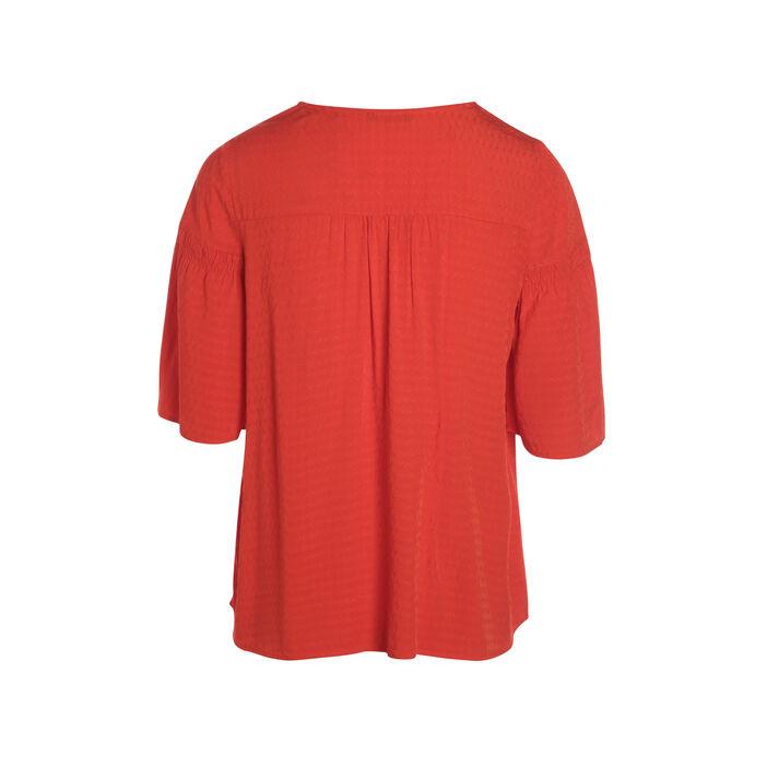 Blouse manches courtes fluide rouge corail femme