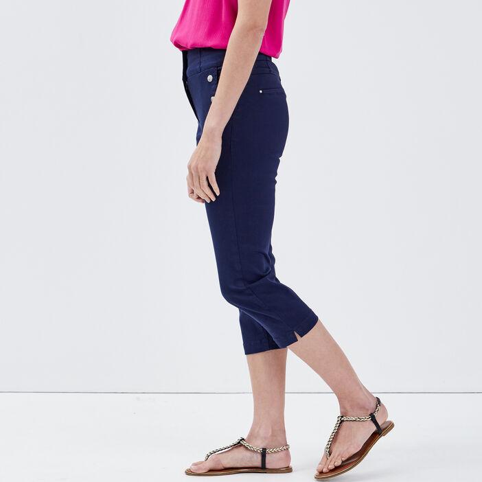 Pantacourt slim taille haute bleu marine femme