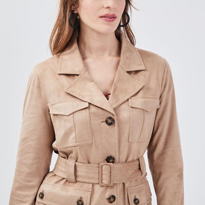 Veste droite ceinturée beige femme