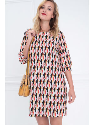 Robe droite manches 34 multicolore femme