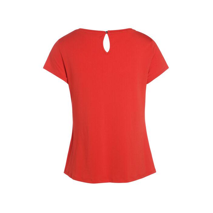 T-shirt manches courtes noué rouge femme
