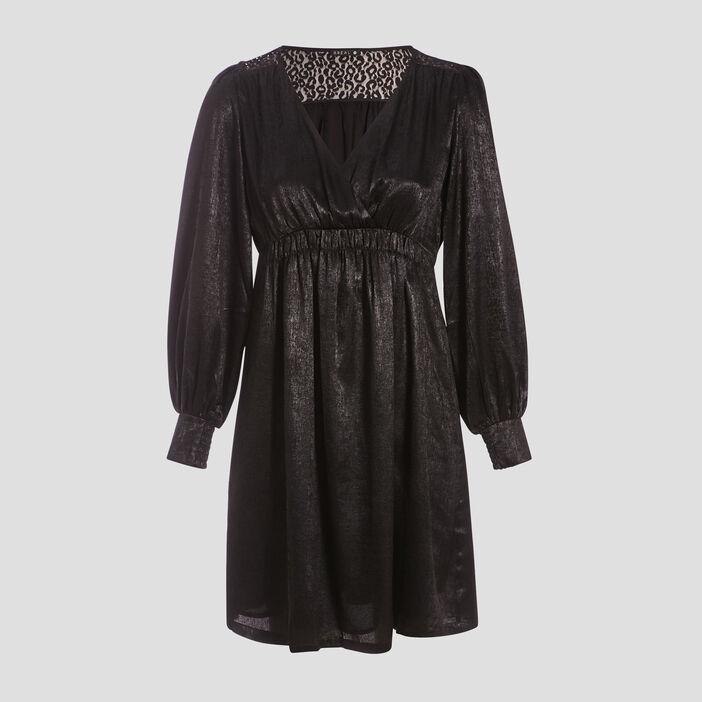 Robe satinée noir femme