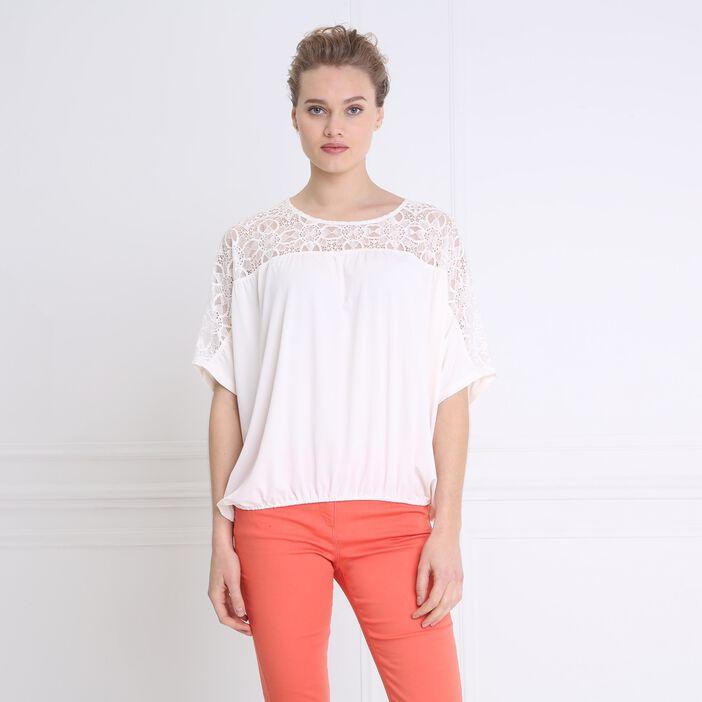 T-shirt manches 3/4 détails broderies ivoire femme