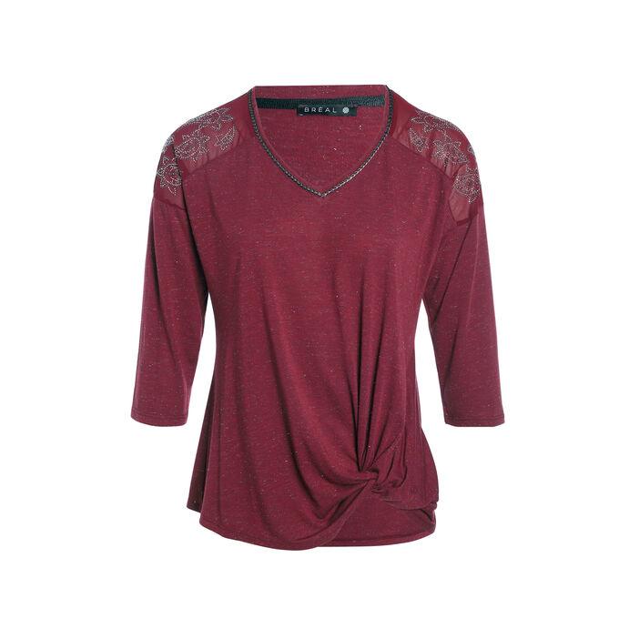 T-shirt manches 3/4 strass bordeaux femme