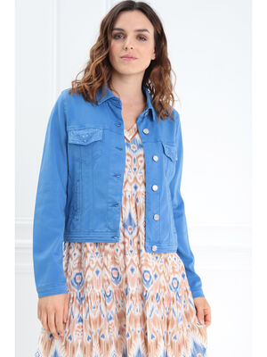 Veste droite courte brodee bleu femme