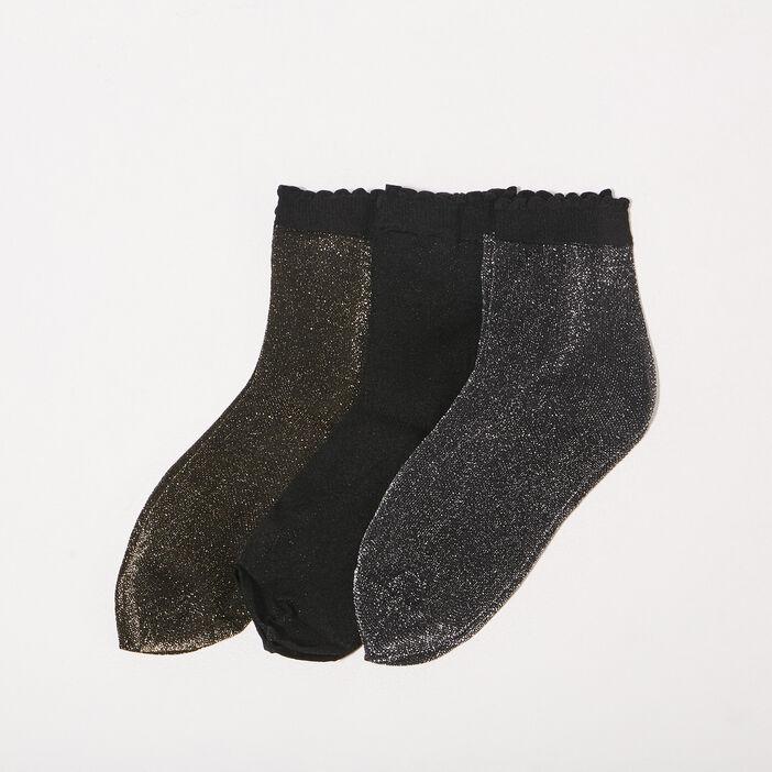 Lot 3 paires chaussettes noir femme