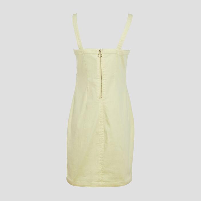 Robe ajustée à bretelles jaune fluo femme