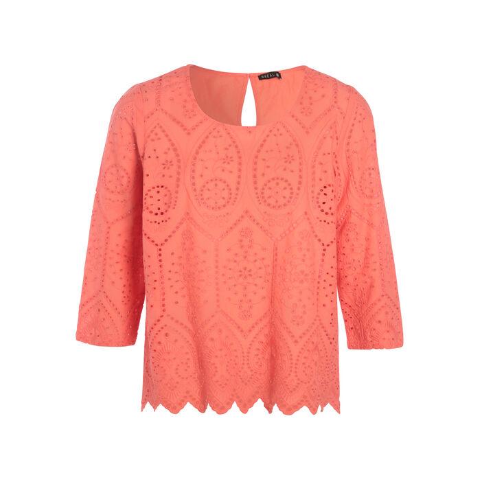 Chemise brodée orange corail femme