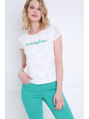 T shirt manches courtes devore blanc femme