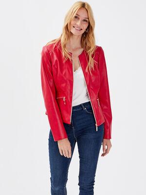 Veste cintree zippee rouge fonce femme