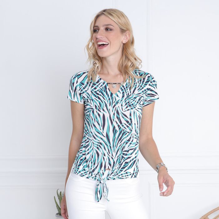 T-shirt manches courtes col V vert turquoise femme