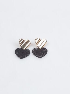 Boucles doreilles en forme de coeur noir femme