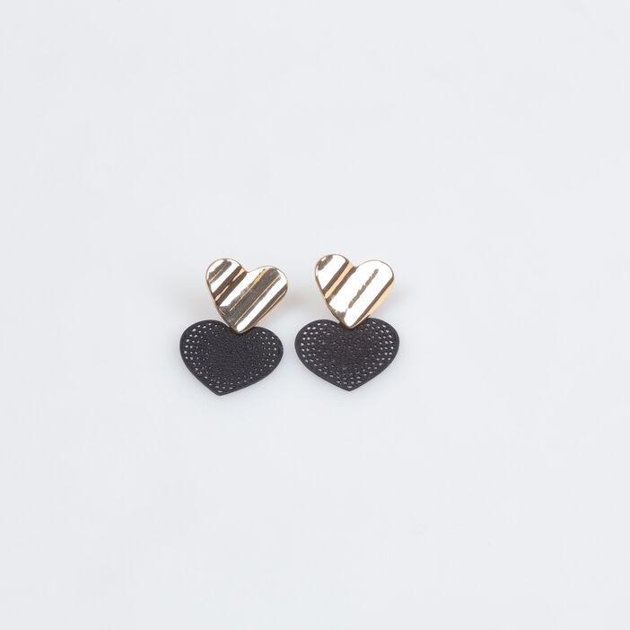 Boucles d'oreilles en forme de coeur noir femme