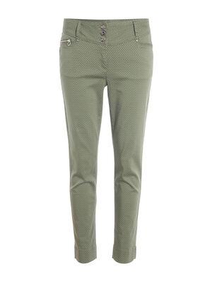 Pantalon imprime a pois vert kaki femme