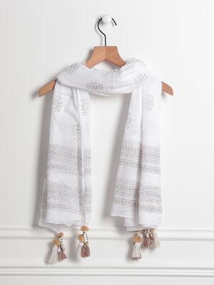 Foulard details broderies et coquillages blanc femme