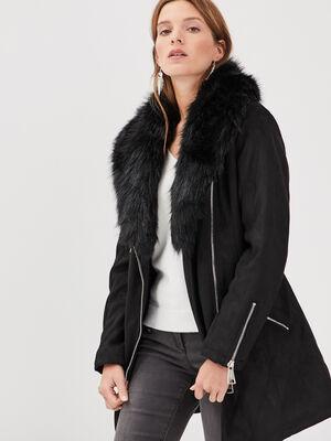 Manteau col fourrure noir femme