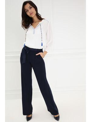 Pantalon fluide noue a la taille bleu femme