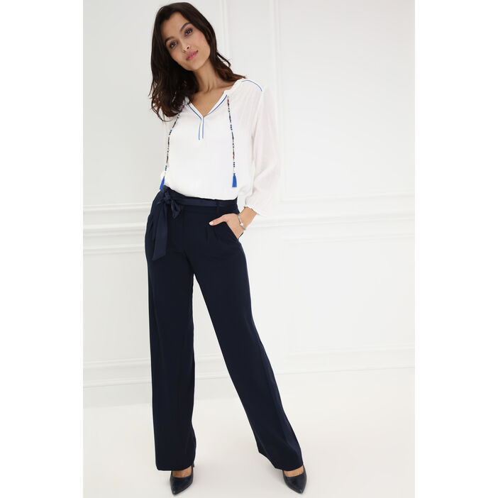 Pantalon fluide noué à la taille bleu femme