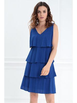 Robe droite a volants bleu femme