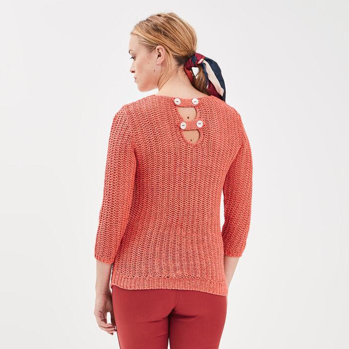 Pull manches 3/4 ajouré irisé rose corail femme