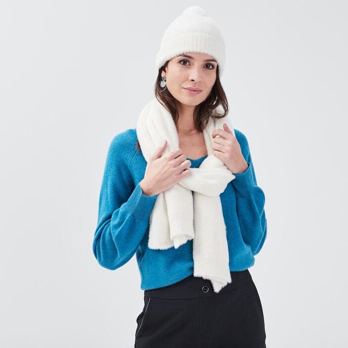 Lot bonnet et écharpe ecru femme