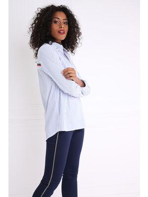 Chemise col francais rayee avec message bleu gris femme