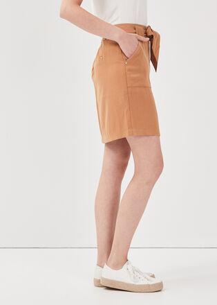 Jupe droite ceinturee marron clair femme