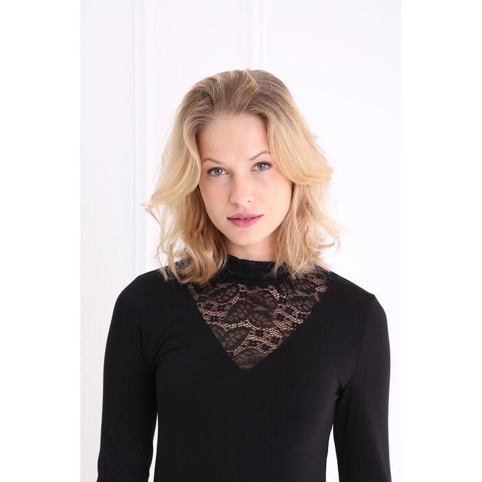 T-shirt col cheminée et dentelle noir femme