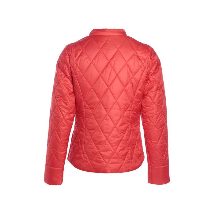 Doudoune cintrée zippée rouge corail femme