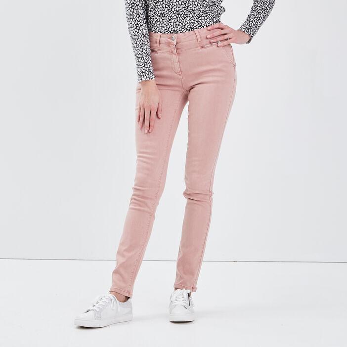 Pantalon ajusté détails zippés rose femme