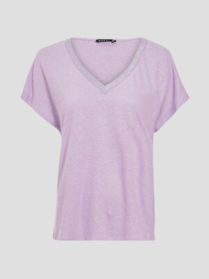 T shirt manches courtes rose pastel femme