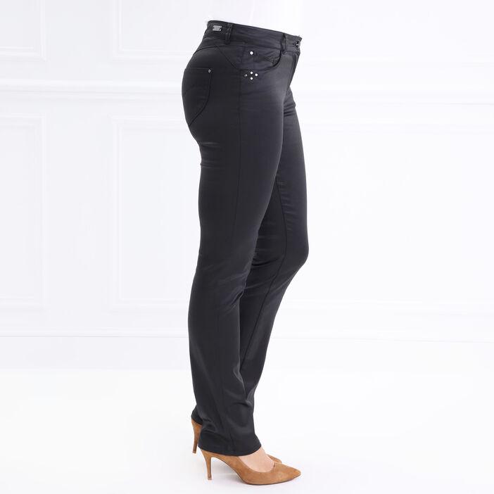 Pantalon droit enduit taille basculée noir femme
