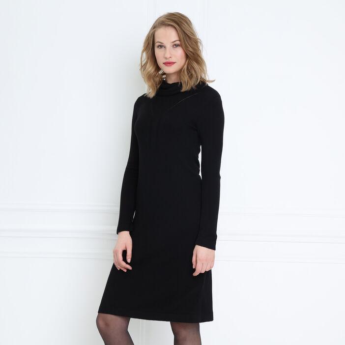 Robe pull droite col roulé noir femme