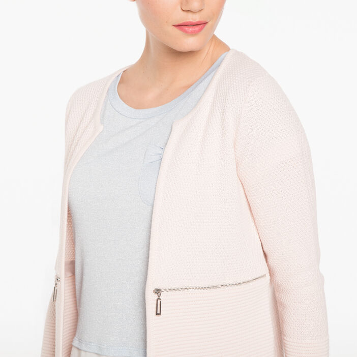 Gilet avec zips vieux rose femme