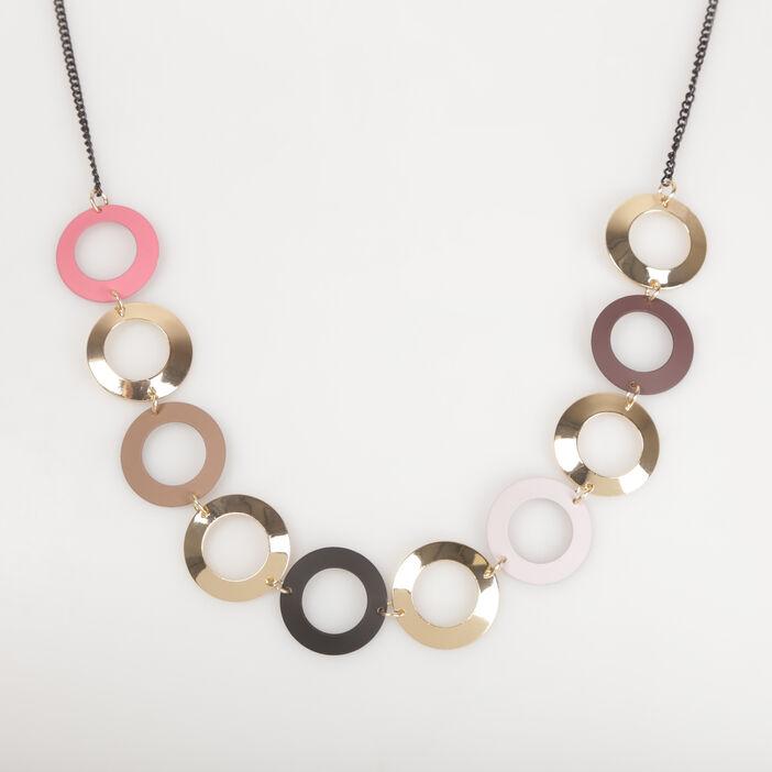 Sautoir avec anneaux couleur or femme