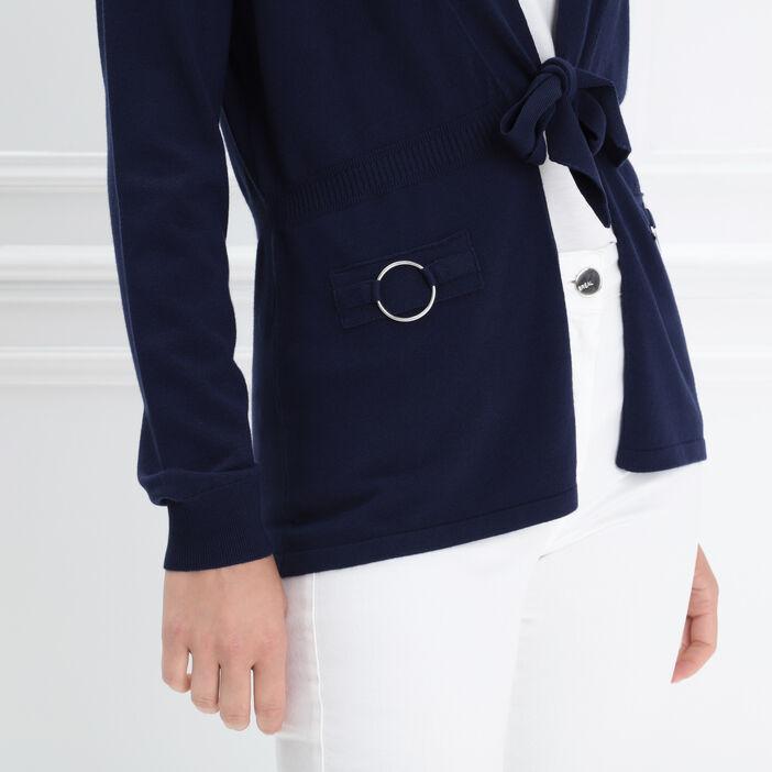 Gilet manches longues noué bleu marine femme