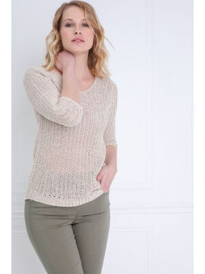 Pull manches 34 ajoure irise sable femme